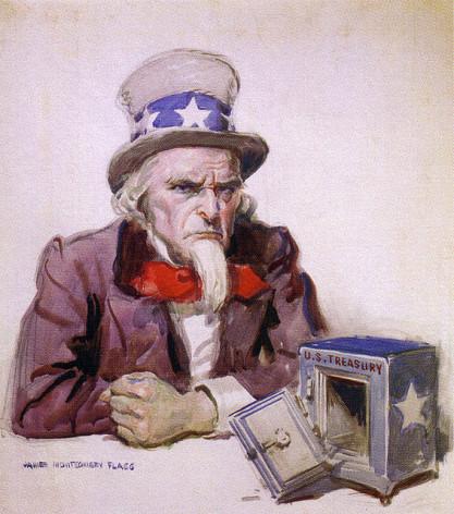 Ilustración de 1920 en la que James Montgomery Flagg retrata la situación posterior a la Primera Guerra Mundial, aunque la imagen de un Tesoro agotado resulta bastante actual. Crédito: Dominio público.