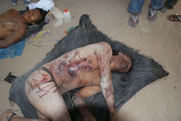 Cadáveres de algunos de los muertos indígenas en Bagua. Crédito: Cortesía Fedepaz