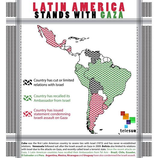 Mapa de América Latina, con escasos países en blanco, porque sus gobiernos no se solidarizaron abiertamente con Palestina. En negro, los países sin relaciones diplomáticas con Israel, en verde los que han llamado a consultas a sus embajadores en Tel Aviv y en rojo los que han emitido declaraciones de condena contra los bombardeos a Gaza.  Crédito: Telesur