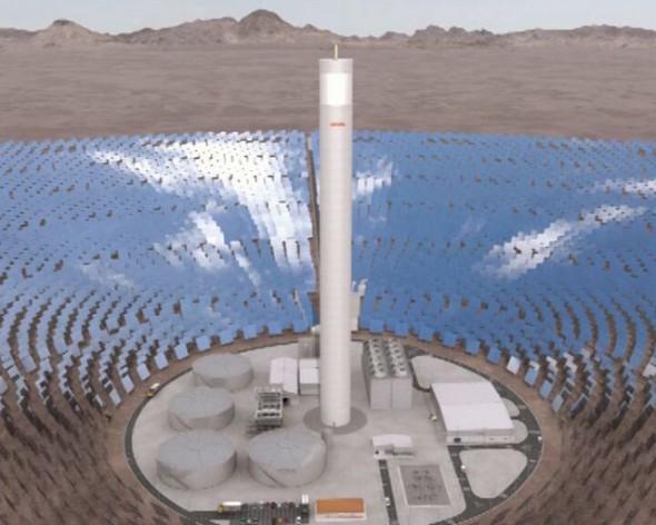 Recreación de cómo será la primera planta termosolar de América Latina, que comenzará a operar en el desierto de Atacama, en el norte de Chile, en 2017. Crédito: Abengoa Chile