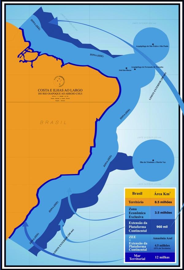 Mapa oficial de parte de la Amazonia Azul, la gran frontera occidental al océano Atlántico de Brasil, cuya protección e investigación va a la zaga de su desarrollo económico, principalmente petrolero. Crédito: Gobierno de Brasil