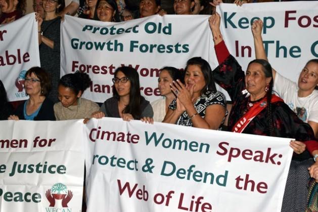 Las mujeres en la COP21 levantan la bandera por la equidad de género en los acuerdos climáticos. Crédito: Stella Paul / IPS