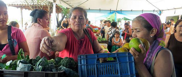 Las más de 4.000 socias de la Federación de Cooperativas de Mujeres Agropecuarias de Nicaragua realizan ferias para la venta directa a los consumidores de sus productos, buena parte de ellos producidos en forma ecológica. Crédito: Femuprocan