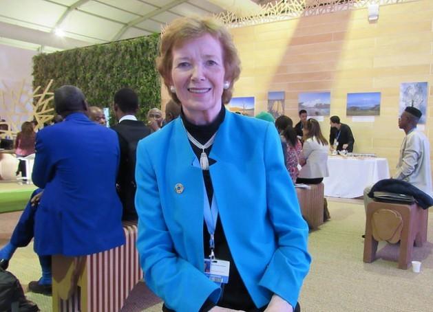 Mary Robinson, enviada especial de la ONU para el cambio climático, en la COP 22, de Marrakech, en 2016. Crédito: Fabiola Ortiz/IPS.