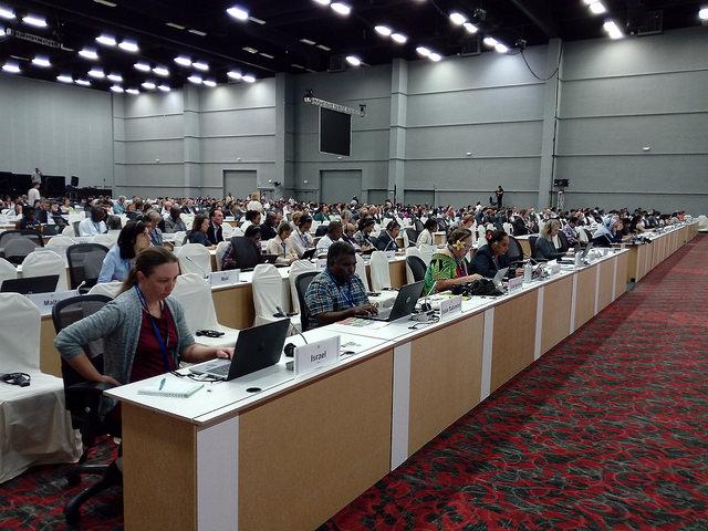 Los delegados de los 196 Estados parte del Convenio sobre la Diversidad Biológica aprietan el paso para alcanzar acuerdos sobre  la preservación y aprovechamiento de la biodiversidad del planeta, en una cumbre que se cierra el 17 de diciembre en Cancún, en México. Crédito: Emilio Godoy/IPS