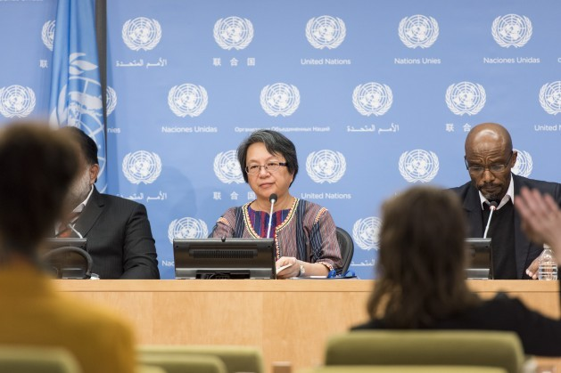 Victoria Tauli Corpuz, relatora especial de la ONU sobre los Derechos de los Pueblos Indígenas. Crédito: Mark Garten/ONU.