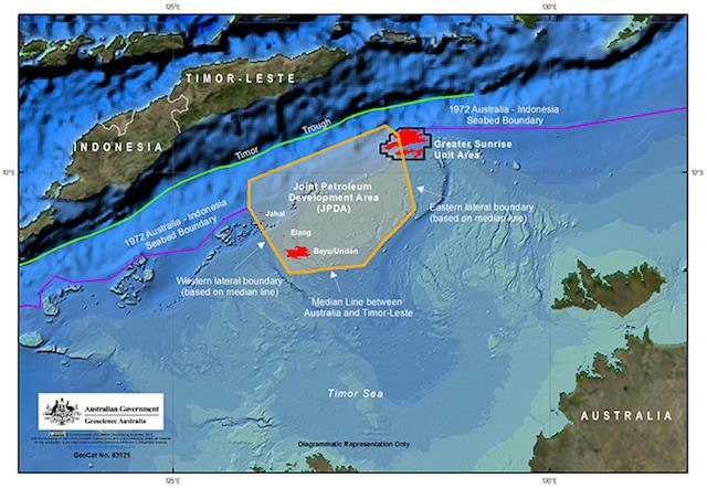 Australia sostiene que su frontera marítima con Timor Oriental debe basarse en su plataforma continental, como el límite que suscribió con Indonesia en 1972 en función de su lecho marino. Fuente: Departamento de Comercio y Relaciones Exteriores.