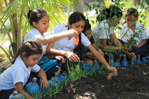 Alumnas de una escuela en una aldea indígena del occidente de Honduras, en el huerto pedagógico donde cultivan y aprenden a la vez sobre la importancia de la alimentación nutritiva y saludable. Honduras tiene desde 2016 una ley que regula un programa de alimentación de nueva generación, donde la nutrición saludable, agricultura familiar de cada localidad y los huertos escolares se dan la mano. Crédito: Thelma Mejía/IPS