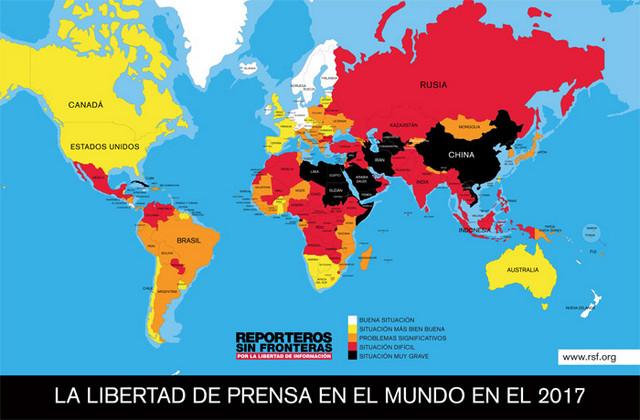 Mapa de la Clasificación Mundial de la Libertad de Prensa, difundido el miércoles 26 de abril por Reporteros sin Fronteras, donde Cuba (puesto 173) y México (147) aparecen como los peor situados de América Latina, mientras Uruguay (25) y Chile (33) aparecen como los mejor en el ranking, entre los 180 analizados. Crédito: RSF