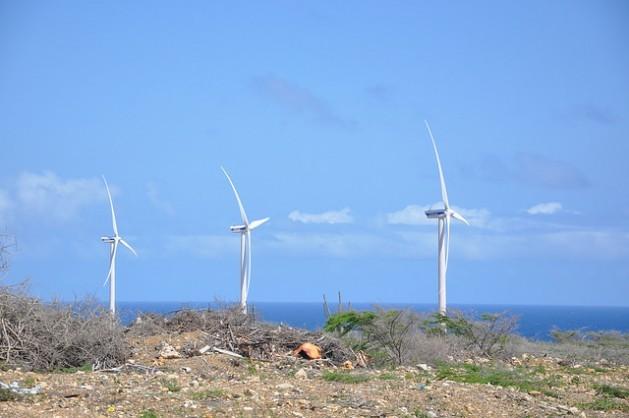 Una granja eólica en Curacao. A fines de 2015, los países del Caribe se unieron a un acuerdo global para abandonar paulatinamente el uso de combustibles fósiles y adoptar fuentes de energía renovable como la éolica y la solar. Crédito: Desmond Brown/IPS.