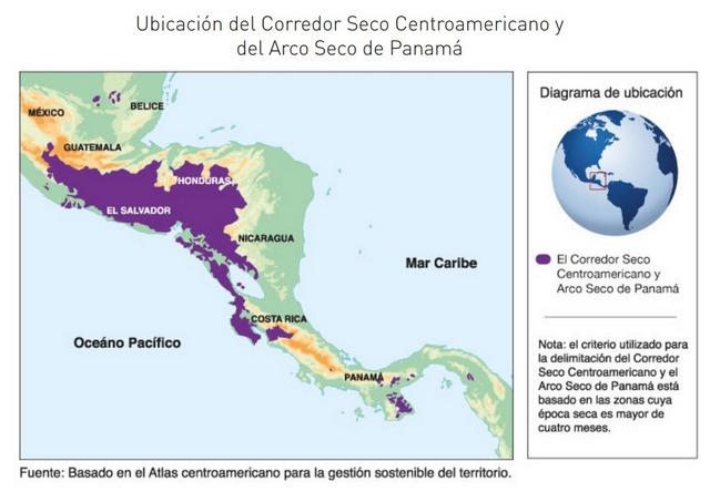 Mapa del Corredor Seco Centroamericano y del Arco Seco de Panamá. Crédito: FAO