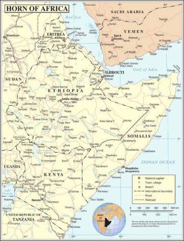 Mapa del Cuerno de África. Fuente: Departamento de Operaciones, sección de cartografía de las Naciones Unidas.