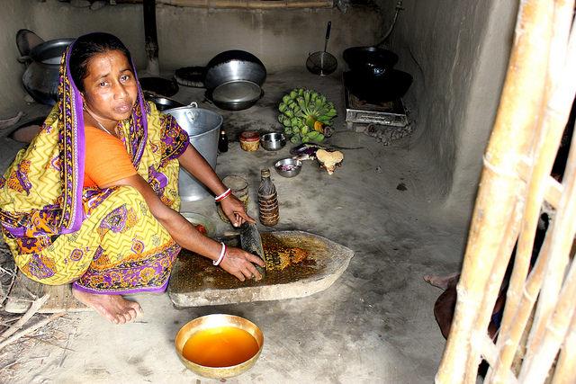 En una quinta parte de una hectárea, en la zona india de Sundarbans, Alpana Mandal encuentra una diversidad de alimentos, pescado de un pequeño estanque de agua dulce, huevos de sus gallinas,fríjoles y arroz. Pero el aumento del nivel del mar pone en riesgo su aldea en el delta del Ganges y emigrar hacia Kolkata , podría ser su única forma de supervivencia. Crédito: Manipadma Jena/IPS.