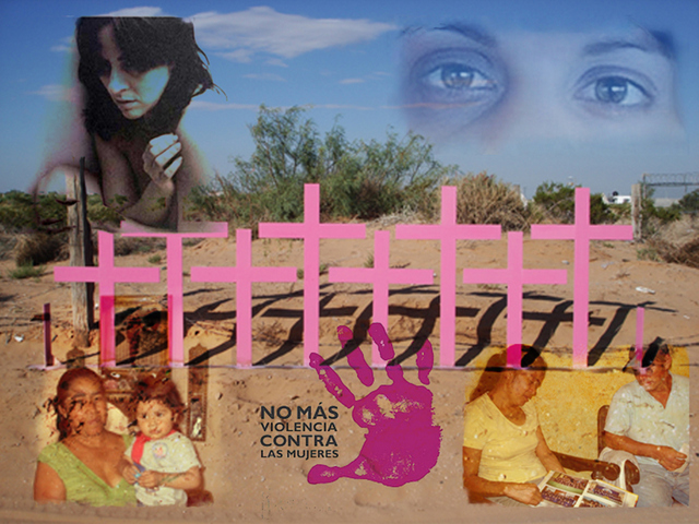 Maltratadas, familiares de víctimas de feminicidios/femicidios y cruces que simbolizan las mujeres asesinadas por razones de género, en un collage de imágenes en diferentes países de América Latina. Un llamado al fin de la violencia contra las mujeres, un objetivo que se aleja en la región. Crédito: Juan Moseinco /IPS