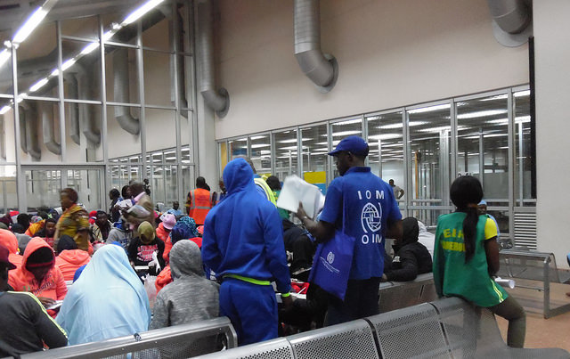 Workers with IOM register returned migrants at Yaounde Nsimalen Airport in Cameroon. Credit: Mbom Sixtus/IPS