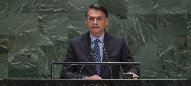 El presidente Jair Bolsonaro, el primero de los oradores invitados a dirigirse a la 74 Asamblea General de la ONU, una deferencia tradicional para Brasil. Crédito: Cia Pak/ONU