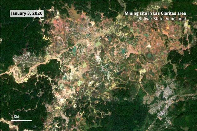 Imágenes satelitales registradas al 3 de enero de 2020 muestran la extensión de las minas de Las Claritas en el estado de Bolívar, en Venezuela. Crédito: Planet Labs