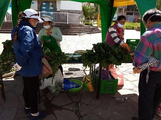 Las productoras agroecológicas instalan tres veces por semana su puesto en la plaza mayor del municipio rural de Huasao con sus lechugas, tomates, cebolla china, rabanito, entre otras hortalizas. Ahora, venden cumpliendo el protocolo de seguridad sanitaria por la pandemia del coronavirus, en el que han sido capacitadas por las autoridades municipales. Foto: Nayda Quispe/IPS