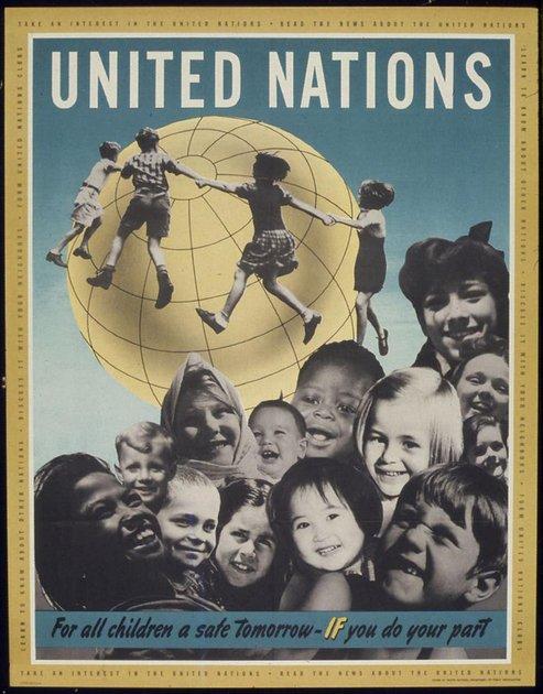 Cartel de Naciones Unidas durante la Segunda Guerra Mundial. Foto: Wikimedia Commons