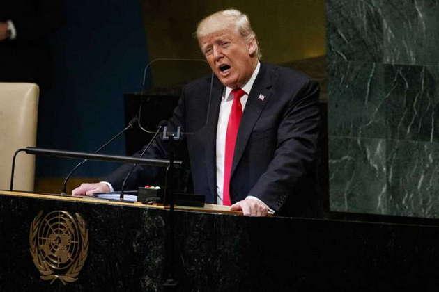 El presidente estadounidense Donald Trump durante su discurso en la 73 Asamblea General de la ONU, en septiembre de 2018, en que presentó su visión sobre el mundo y que despertó la hilaridad de los participantes, por sus constatables falsedades. Foto: VOA