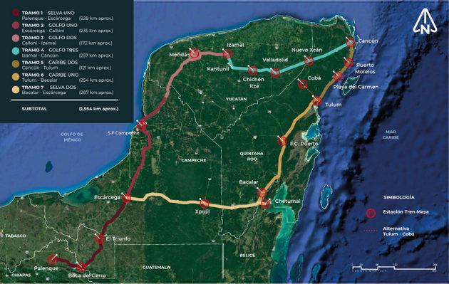 Mapa del trazado del Tren Maya por la Península de Yucatán, en México, cuyas obras comenzaron en mayo y que se espera que entre en operaciones en 2023. Imagen: Fonatur