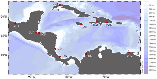 Los sitios de recolección de núcleos de sedimentos fueron las bahías de Cartagena (Colombia), La Habana (Cuba), Amatique (Guatemala), Puerto Príncipe (Haití), Puerto Cortes (Honduras), Bluefields, (Nicaragua) y Almirante (Panamá). Además de los estuarios del río Haina (República Dominicana) y del río Coatzacoalcos (México), el Puerto de Kingston (Jamaica) y el golfo de Cariaco (Venezuela). Imagen: Ruiz-Fernández/Et Al