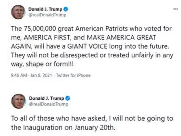 Los dos últimos tuits de Donald Trump antes de ser cancelada permanentemente su cuenta en Twitter, tras más de 57 000 tuits generados por el saliente presidente estadounidense, que tenía cerca de 89 millones de seguidores. Foto: Twitter