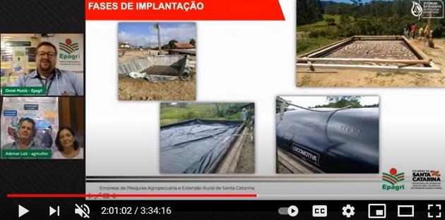 La pareja de agricultores Ademar Luiz y Zenilde Nunes Luiz decidieron producir biogás para cocinar y calentar toda el agua de la casa, en Laurentino, un municipio de inviernos gélidos del sureño estado de Santa Catarina, ahorrando leña y electricidad. Captura de la pantalla de su presentación en el Foro Sur Brasileño de Biogás y Biometano, celebrado a fines de marzo en Brasil. Foto: Mario Osava / IPS