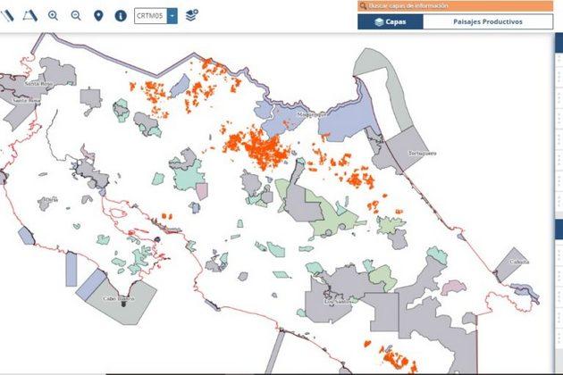 En naranja se observan los cultivos de piña en Costa Rica. Información del Sistema Nacional de Información Territorial