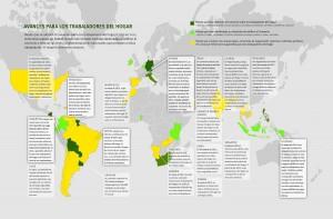 Mapa de avances para las trabajadoras y los trabajadores domésticos (click para agrandar). Crédito: HRW
