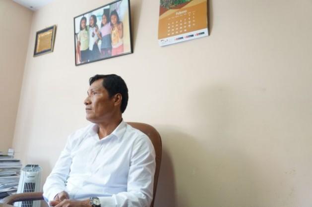 El dirigente indígena peruano Alberto Pizango, que enfrenta un proceso judicial por la masacre de Bagua y es a la vez consultado por el gobierno para organizar la próxima cumbre climática. Crédito: Coimbra Sirica/BurnessGlobal