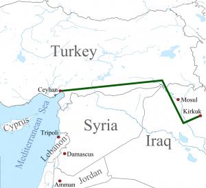 Mapa del oleoducto entre Kirkuk, en el Kurdistán iraquí, y Ceyhan, en Turquía. Crédito: Dominio público