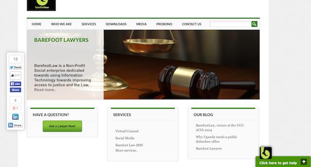 Barefoot Law (Ley Descalza) brinda asesoramiento jurídico y consultas gratuitas y tiene más de 16.000 seguidores en Internet, así como una aplicación para Android, el sistema operativo para dispositivos móviles