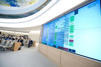 Sesión especial del Consejo de Derechos Humanos sobre los ataques a la zona de Gaza, el miércoles 23 de julio. Crédito: Violaine Martin/Naciones Unidas