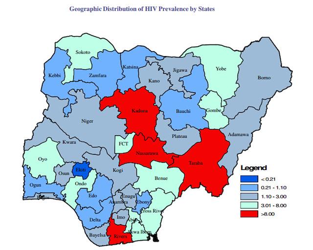 Distrbución geográfica de la prevalencia del VIH por estados. Crédito:  Informe de Nigeria a UNGASS 2014.|