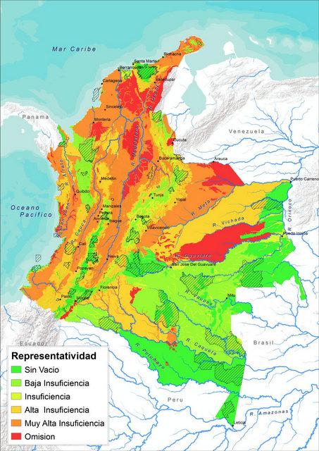 Mapa de los factores de compensación por representatividad de los ecosistemas y biomas, en los distritos biogeográficos de Colombia. Crédito: Cortesía del Ministerio del Ambiente