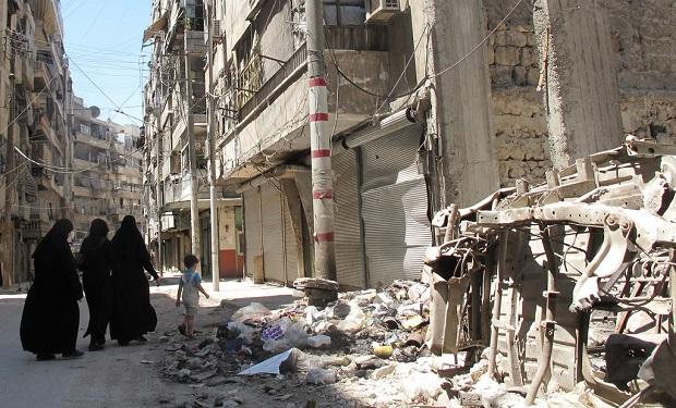 Calle de Alepo, en poder de la insurgencia en agosto. Crédito: Shelly Kittleson/IPS