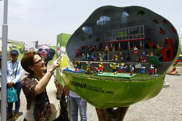 Susana Villarán, alcaldesa de Lima, presenta en Voces por el Clima, en el marco de la COP 20, un espacio para un desarrollo sostenible de la ciudada. Crédito: Victor Vásquez/COP20