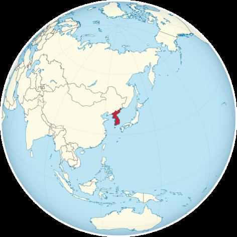 Las Coreas en el globo. Crédito: TUBS / CC BY-SA 3.0 via Wikimedia Commons