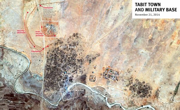Imagen satelital del pueblo de Tabit, Sudán. Crédito: Human Rights Watch