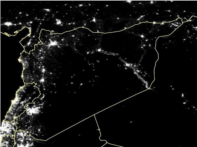 Una imagen satelital de Siria en marzo de 2011. Crédito Xi Li/Universidad de Wuhan