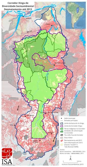 Mapa de la cuenca del río Xingú, en la Amazonia brasileña. El verde de las tierras indígenas y áreas oficiales protegidas está cercado por zonas deforestadas y la presenta puntos rojos. La cuenca tiene 511.149 kilómetros cuadrados, más que España, y su parte deforestada, de 109.166 kilómetros, iguala a Cuba. Crédito: Cortesía del Instituto Socioambiental