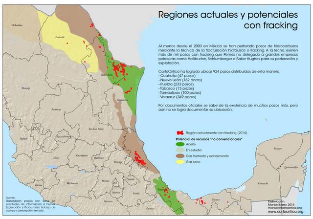 Regiones de desarrollo actual y futuro de la fractura hidráulica, o fracking, en México, sobre el que las comunidades afectadas dicen carecer de información. Crédito: Cortesía de Cartocrítica