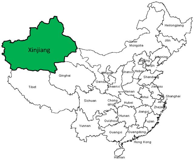 La Región Autónoma Uigur de Sinkiang  se encuentra en el oeste de China, a más de 3.000 km de Beijing. Crédito: futureatlas.com/CC-BY-2.0
