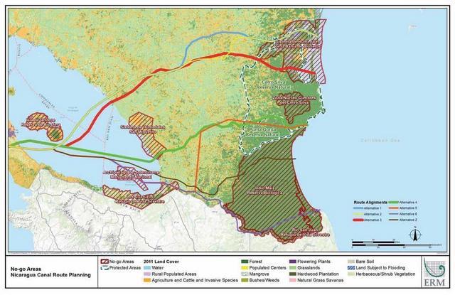 Mapa de Nicaragua con las seis rutas que se proyectaron para el trazado del bidireccional canal interoceánico. La seleccionada, en verde, fue la cuarta. Crédito: ERM