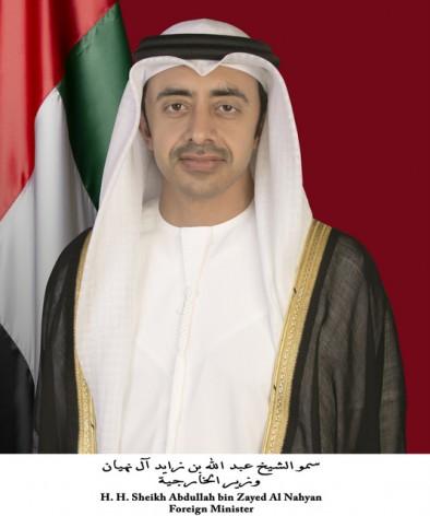 El ministro de Asuntos Exteriores de Emiratos Árabes Unidos, jeque Abdullah bin Zayed al Nahyan. Crédito: WAM
