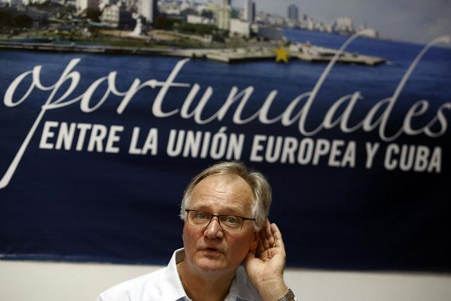 Christian Leffler, secretario general adjunto para Asuntos Económicos y Globales del Servicio Europeo de Acción Exterior, durante la rueda de prensa sobre la séptima ronda de negociaciones del Acuerdo de Diálogo Político y Cooperación entre Cuba y la Unión Europea, en la sede del bloque en La Habana. Crédito: Jorge Luis Baños/IPS