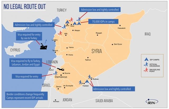 Cuanto más luchan los sirios por encontrar una ruta para huir de la guerra y la devastación en su país, mayores son las restricciones y los cercos a estos refugiados en el continente europeo, destaca en esta infografía IRIN, la agencia de noticias de las Naciones Unidas sobre asuntos humanitarios. Crédito: IRIN