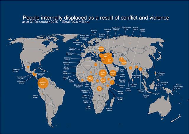 El Salvador, Guatemala, Honduras y México han irrumpido en el mapa mundial de desplazados internos, víctimas de la violencia criminal, en un fenómeno que resulta invisible y desatendido por los organismos que se ocupan de la asistencia humanitaria internacional. Crédito: Reporte 2016 de IDMC