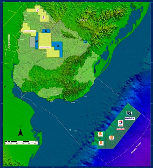 Captura de presentación de la geóloga Ethel Morales, con los contratos asignados hasta ahora en la plataforma continental de Uruguay, a la derecha. El segundo desde arriba es el bloque 14, adjudicado a la empresa petrolera francesa Total. Crédito: Ronda Uruguay